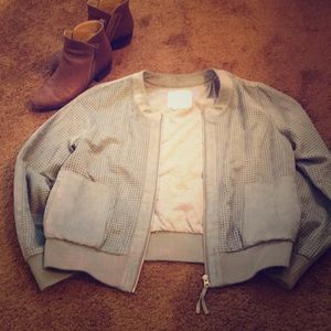 Sage/grey faux suede utility jacket